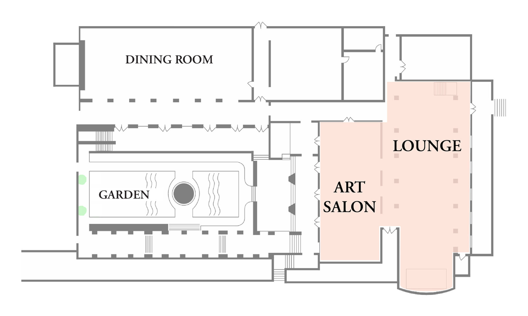 Ebell Club Floor Plan. Art Salon and Lounge