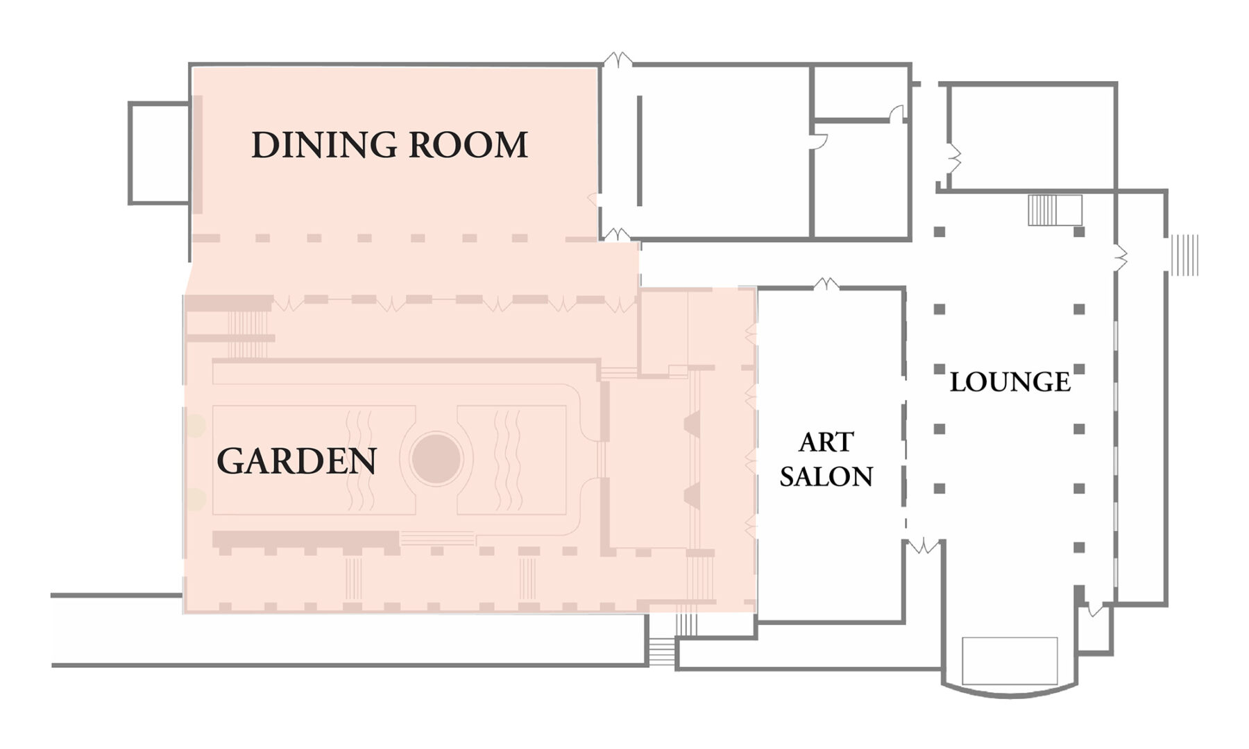 Ebell Club Floor Plan. Dining Room and Garden
