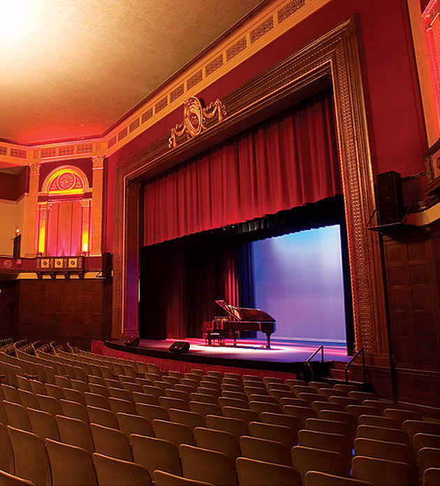 Wilshire Ebell Theatre seats and stage angle view