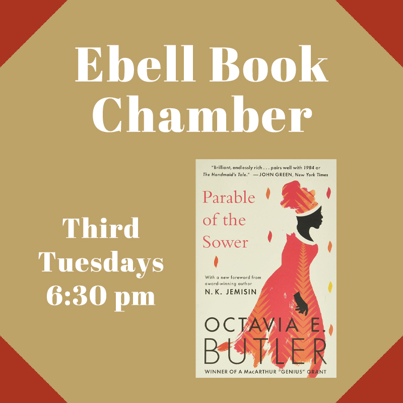 """Ebell Book Chamber featuring """"Parable of the Sower"""" book cover"""